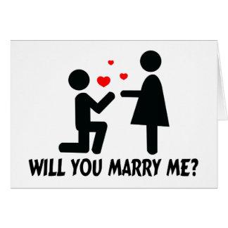 Vous m'épouserez avez plié l'homme et la femme de carte de vœux