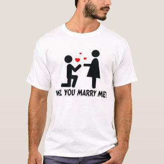 Vous m'épouserez avez plié l'homme et la femme de t-shirt
