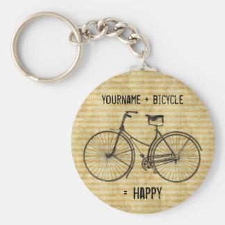 Vous plus la bicyclette égale le jaune antique heu porte-clés