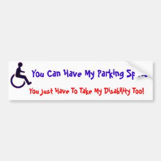 Vous pouvez avoir mon espace handicapé autocollant de voiture