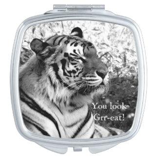 Vous regardez Grr-mangez ! Tigre en noir et blanc Miroir De Voyage