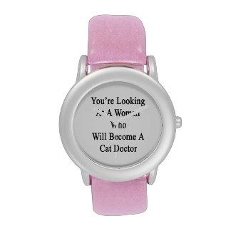 Vous regardez une femme qui deviendra un chat font montres bracelet