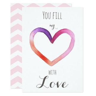 Vous remplissez mon coeur avec amour - carte de carton d'invitation  12,7 cm x 17,78 cm
