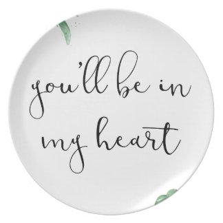 Vous serez à mon coeur assiettes en mélamine