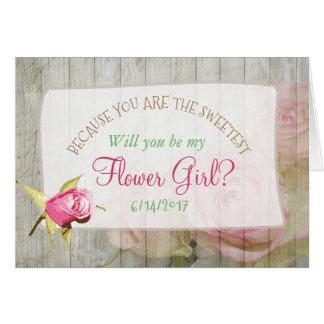 Vous serez ma carte en bois rustique florale de
