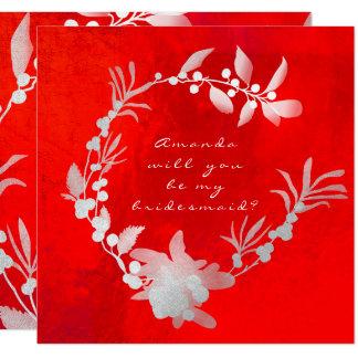 Vous serez ma guirlande rouge argentée grise de carton d'invitation  13,33 cm