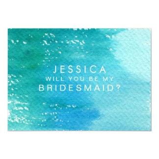 Vous serez mon lavage d'aquarelle de demoiselle carton d'invitation  12,7 cm x 17,78 cm