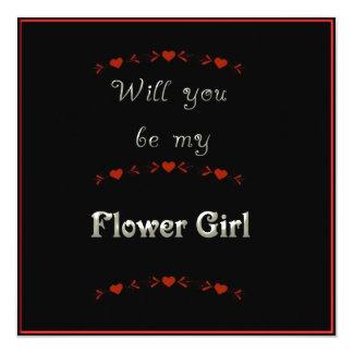Vous serez mon noir, rouge et blanc de demoiselle carton d'invitation  13,33 cm