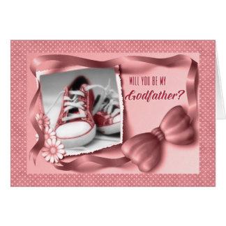 Vous serez mon parrain - rose de bébé carte de vœux