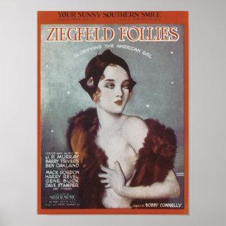 Vous Songbook du sud ensoleillé de folies de Ziegf Posters