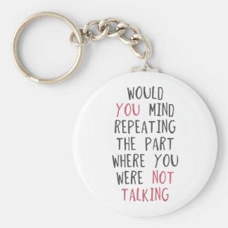 Vous vous occuperiez de répéter la pièce où vous porte-clé rond