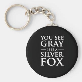 Vous voyez le gris, je voyez un Fox argenté Porte-clé Rond
