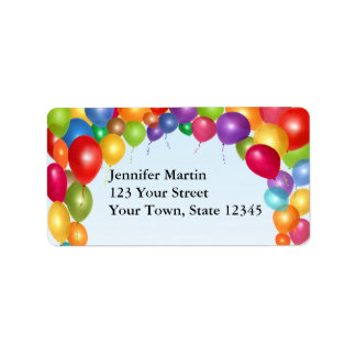 Voûte colorée de ballon étiquette d'adresse