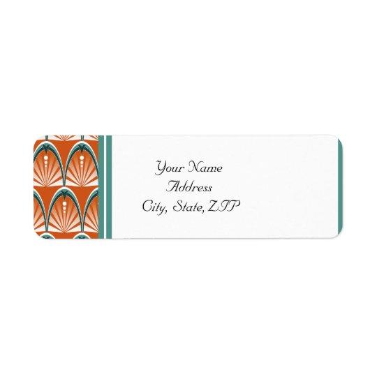 Voûtes d'art déco dans le mariage orange et étiquette d'adresse retour