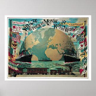 Voyage autour du voyage vintage du monde posters