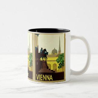 Voyage autrichien vintage de ~ de Vienne Mug Bicolore