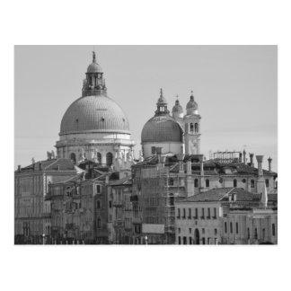 Voyage blanc noir de Venise Italie de canal grand Carte Postale