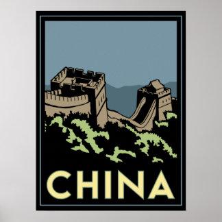 voyage d'art déco de l'Asie de Grande Muraille de  Poster