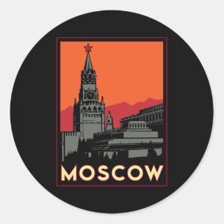 voyage d'art déco de Moscou Russie le Kremlin rétr Adhésif Rond