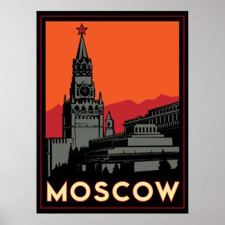 voyage d'art déco de Moscou Russie le Kremlin rétr Poster