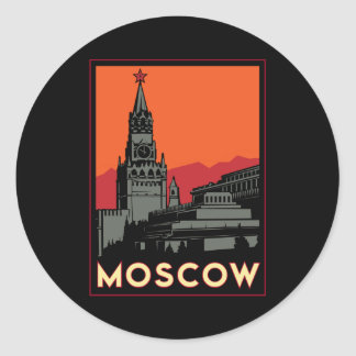 voyage d'art déco de Moscou Russie le Kremlin Sticker Rond