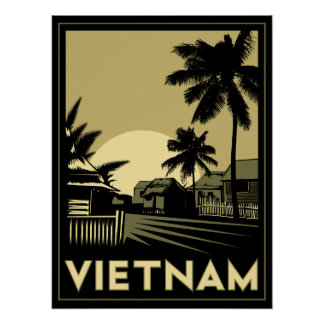 voyage d'art déco du Vietnam Asie du Sud-Est rétro Poster