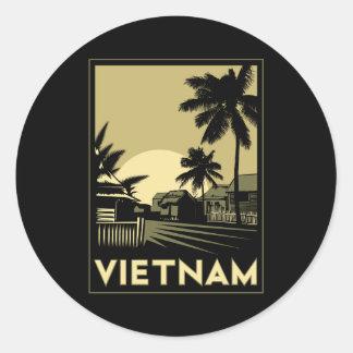voyage d'art déco du Vietnam Asie du Sud-Est rétro Sticker Rond