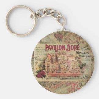 Voyage de fantaisie vintage de Monte Carlo de Porte-clé Rond