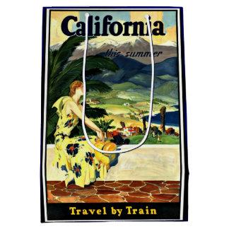 Voyage de la Californie par l'affiche vintage de Sac Cadeau Moyen
