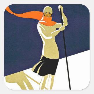 Voyage de sports de ski de Sainte Croix Les Rasses Stickers Carrés
