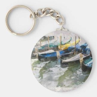voyage de Venise de gondoles Porte-clé Rond