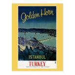 Voyage d'or vintage d'Istanbul Turquie de klaxon Carte Postale