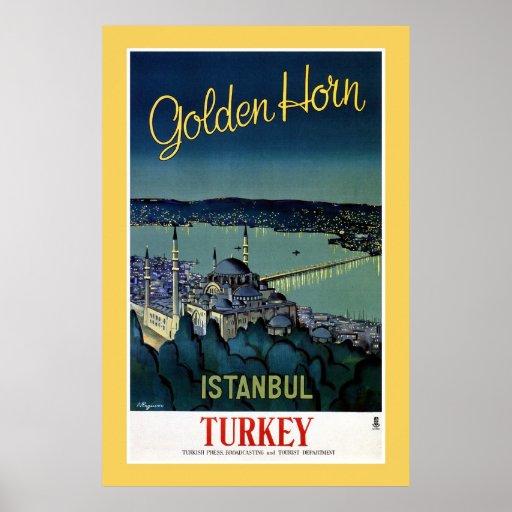Voyage d'or vintage d'Istanbul Turquie de klaxon Posters