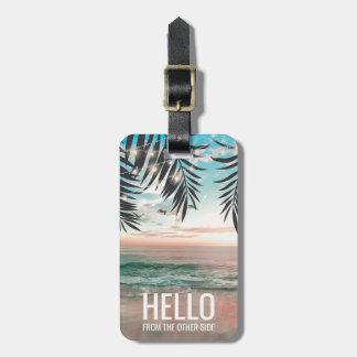 Voyage drôle personnalisé par plage tropicale étiquette à bagage