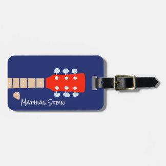 voyage frais de musiciens de guitare de roche étiquette à bagage