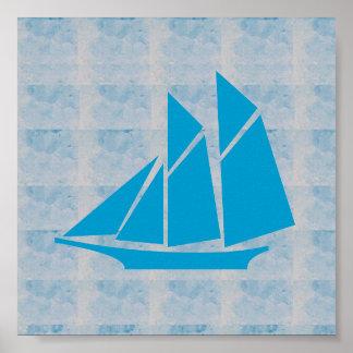 VOYAGE graphique du BATEAU À VOILE de mer de JEU Poster