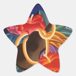 Voyage hawaïen vintage d'étoile de nuit d'ukulélé sticker étoile