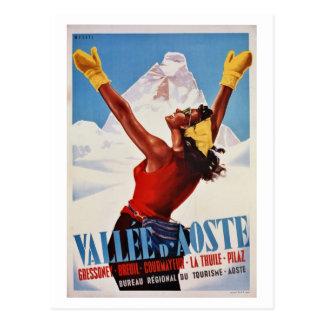 Voyage italien d'Alpes de rétro hiver vintage Carte Postale
