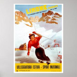Voyage italien vintage de Limone Piemonte de ski Posters