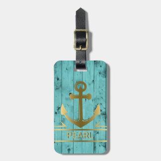 Voyage nautique d'ancre d'or en bois de bleu de étiquette à bagage