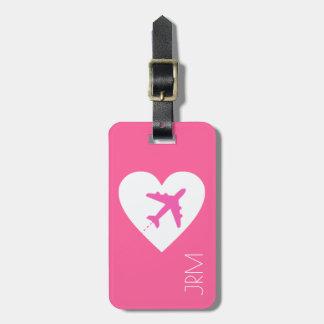 voyage rose féminin personnalisé d'avion d'amour étiquette à bagage