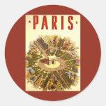 Voyage vintage, Arc de Triomphe Paris France Adhésif Rond