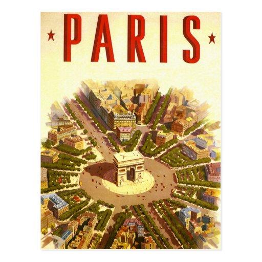 Voyage vintage, Arc de Triomphe Paris France Cartes Postales