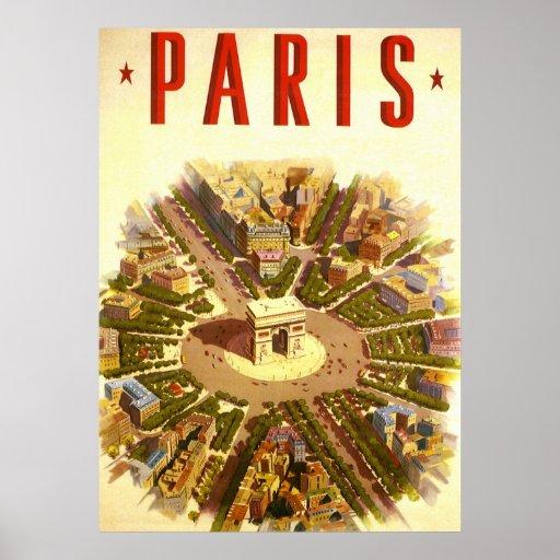 Voyage vintage, Arc de Triomphe Paris France Posters