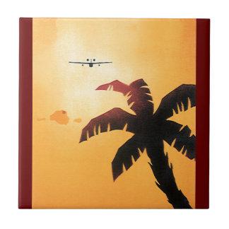 Voyage vintage, avion au-dessus des îles petit carreau carré