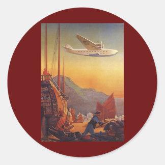 Voyage vintage, avion au-dessus des ordures à Hong Sticker Rond