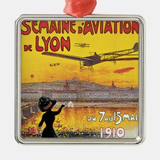 Voyage vintage, avions salon de l'aéronautique, ornement carré argenté
