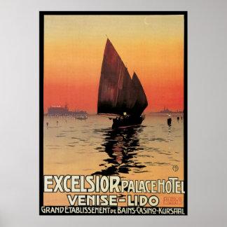 Voyage vintage bateaux au palais Venise de laine Affiche