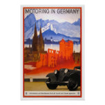 Voyage vintage, circulant en voiture en Allemagne Posters
