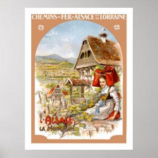 Voyage vintage d Alsace France Poster